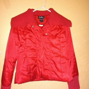 Red puffy cropped winter jacket